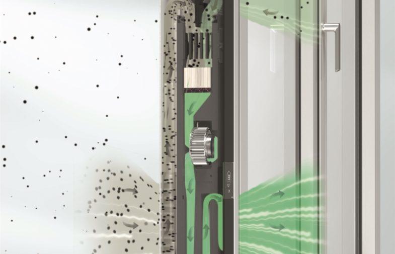 Oczyszczacz powietrza wbudowany w aluminiowe okno