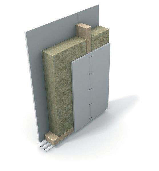 izolacja ściany działowej płytami PAROC UNS 37 z profilami drewnianymi