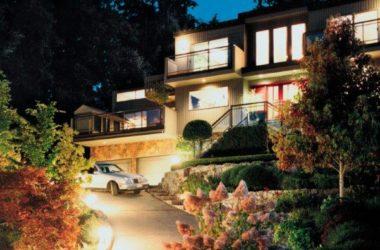 Nowoczesne oświetlenie ogrodu i ścieżek wokół domu