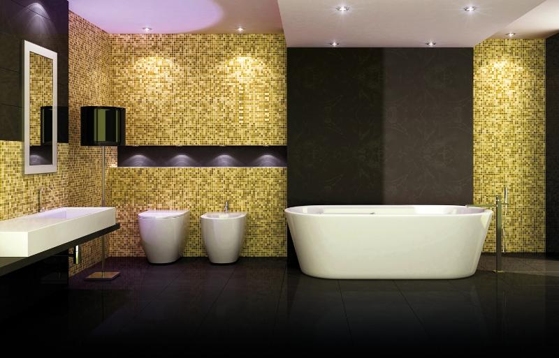 Łazienka ze złotą mozaiką
