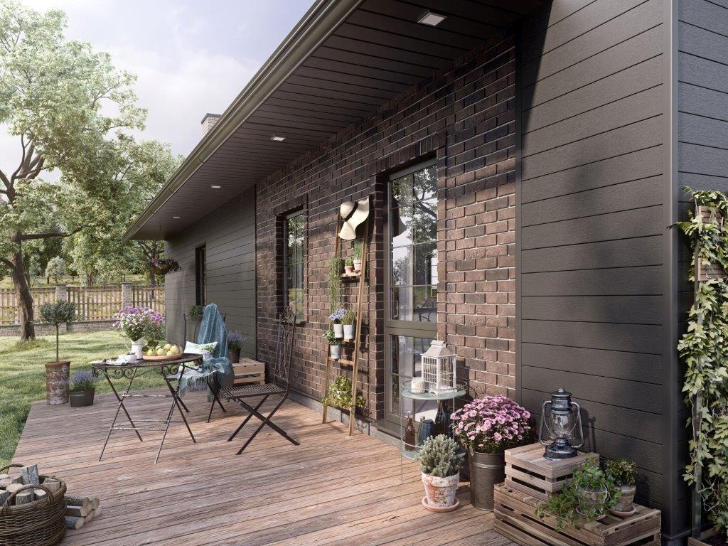 Elewacja z paneli Solid brick york modern wood antracyt