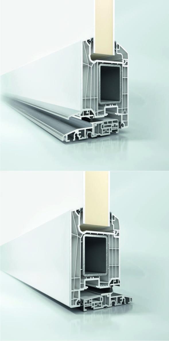 Drzwi wejściowe Schüco LivIng bez progu mogą być otwierane na zewnątrz i do wewnątrz