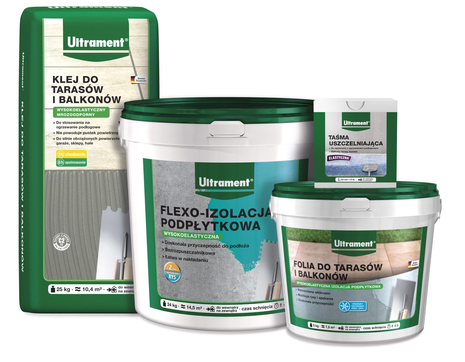 Linia produktów do budowy tarasu i balkonu od Ultrament