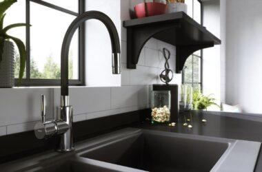 Czarne baterie kuchenne i łazienkowe
